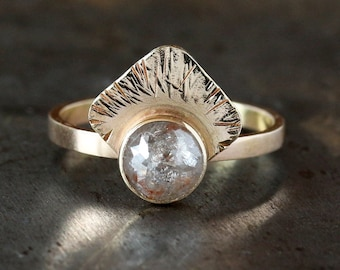 Golden Rays Diamond Ring, Unique Engagement Ring, Rose Cut Natural Color Diamond Ring, Conflict Free Rose Cut Diamond, Hammered Texture