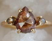 Pear Diamond Engagement Ring, Three Stone Ring, Solid 14k Gold Diamond Ring, Rustic Copper Rose Cut Diamonds, Tear Shape Ring
