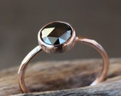 Black Diamond Ring, Rose Cut Diamond, 14k Rose Gold Hammered Band