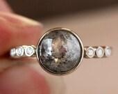 Rose Cut Salt and Pepper Gray Diamond Ring, 18k Palladium White Gold, Multi Stone Engagement Ring