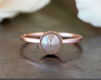 Custom Rose Cut Diamond Ring, Unique Engagement Ring, Natural Color Grey Diamond, 14k Rose Gold Engagement Band, Pink Gold Ring