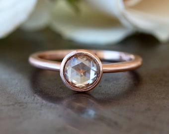 Rose Cut Diamond Ring, Natural Color Light Brown Diamond, Unique Engagement Ring, Rose Gold Diamond Ring, 14k Rose Gold Band, Conflict Free
