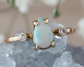 Teardrop Opal and Diamond Ring, Unique Three Stone Ring, 14k Yellow Gold Hammered Band