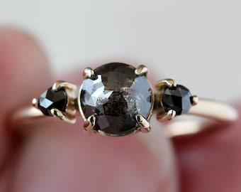 Black Diamond Engagement Ring, Three Diamond Ring, Unique Engagement Ring, Rose Cut Diamond Ring, 14k Yellow Gold, Salt + Pepper Diamond