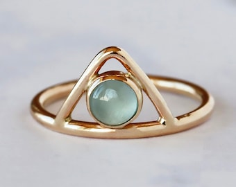 Aquamarine Triangle Ring, 14k Yellow Gold Peak Stacking Ring, March Birthstone Jewelry