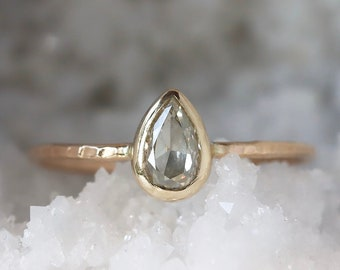 Pear Diamond Ring, 14k Gold Hammered Band, Conflict Free Solitaire Ring, Teardrop Diamond