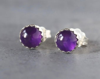 Amethyst Stud Earrings, February Birthstone Gemstone Studs, Amethyst Earrings, Sterling Silver Serrated Setting