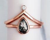 Pear Shaped Engagement Ring Set, Rose Cut Diamond Ring Wedding Set, 14k Rose Gold Chevron Band, Salt and Pepper Diamond, Diamond Crown Ring