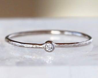 White Gold Tiny Diamond Ring, 18k Palladium White Gold Slim Hammered Band, Tree Bark Texture, Dainty Promise Ring