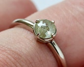 Galaxy Diamond Ring, 18k Palladium White Gold, Prong Set Champagne Diamond, Compass Points Diamond Ring