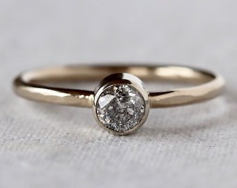 Salt and Pepper Diamond Ring - 14k Palladium White Gold - Hammered Faceted Band - Simple Diamond Ring