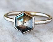 Hexagon Diamond Ring, Rose Cut Salt and Pepper Gray Hexagonal Diamond Engagement, Nickel Free 18k Palladium White Gold