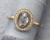 Diamond Halo Ring, Salt and Pepper Rose Cut Oval Diamond, White Diamond Halo Engagement Ring