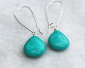 Turquoise Drop Earrings, Turquoise Howlite, Turquoise Earrings, Sterling Silver, Southwestern Style, Gemstone Dangle, Handmade Jewelry