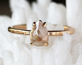Rose Cut Pear Natural Diamond Ring, Unique Engagement Ring, 14k Yellow Gold Hammered Band