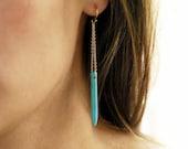 Turquoise Howlite Spike Earrings, Long Dangle Earrings, 14k Gold Filled, Boho Style Earrings, Turquoise Stone Spike, Blue Turquoise Dangle