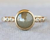 Rose Cut Gray Diamond Ring, Solid 14k Yellow Gold, Multi Stone Engagement Ring