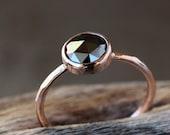 Rose Cut Black Diamond Ring, Solid 14k Rose Gold Hammered Band, Black Diamond Engagement Ring
