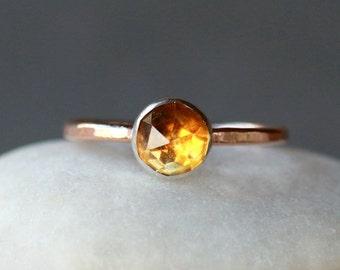 Citrine Ring, Rose Cut Citrine Ring, 14k Gold Ring, Hammered Gold Band, Gemstone Solitaire Ring, November Birthstone, Handmade Jewelry