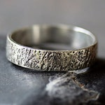Reykjavik Ring, Sterling Silver Men's Wedding Band, Hammered Man's Ring, Rustic Rough Pattern, Iceland Inspired, Handmade Jewelry