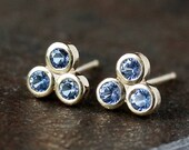 Blue Sapphire Stud Earrings, Three Stone Studs, Triangle Gem Earrings, Solid 14k Yellow Gold Posts, September Birthstone Jewelry
