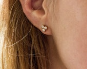 Triangle Diamond Stud Earrings, Real Diamond Studs, Gold Diamond Earrings, Bridal Stud Earrings, Gold Triangle Studs, Geometric Studs