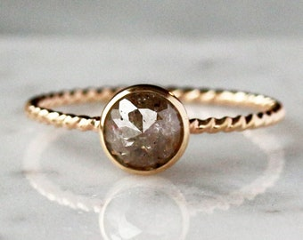 Rose Cut Diamond Ring, Twisted Rope Band, Unique Engagement Ring, Natural Color Diamond, 14k Yellow Gold Ring, Conflict Free Diamond
