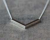 Silver Chevron Necklace, Sterling Silver V Necklace, Large Chevron Pendant, Minimalist Layering Jewelry, V Shape Pendant