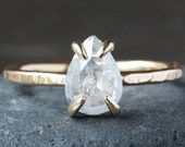 Natural Icy White Diamond Ring, Rose Cut Pear Diamond, 14k Yellow Gold Hammered Band, Conflict Free Solitaire Prong-Set Diamond