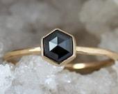 Black Diamond Hexagon Ring, Unique Engagement Ring, Solid 14k Gold Rose Cut Hexagonal Diamond