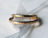 His and Hers Wedding Band Set, Two Hammered Gold Bands, 14k Yellow Gold