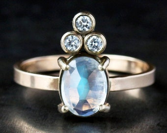 Oval Moonstone Engagement Ring, Diamond Crown Ring, Solid 14k Gold Band, Alternative Bridal Jewelry