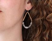 Herkimer Diamond Earrings, April Birthstone Raw Quartz Crystal Teardrop Earrings, Gold Chevron Earrings