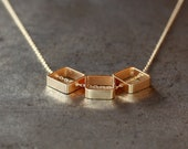 Gold Square Necklace, Geometric Trio Three Squares, 14k Gold Filled Chain, Minimalist Jewelry