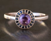 Black Diamond Halo Ring, Rose Cut Pink Sapphire Center, Unique Engagement Ring, 14k Rose Gold Band