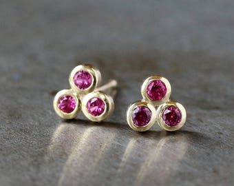 Ruby Stud Earrings, Three Stone Studs, Trinity Triangle Earrings, Ruby Trio Studs, July Birthstone, 14k Yellow Gold Post, Gift for Her