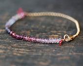 Ombre Gemstone Bracelet, Colorful Spinel Gems 14k Gold Fill Delicate Bracelet Layering Jewelry, Ombre Bracelet, Gold Bracelet