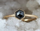 Black Diamond Hexagon Ring, Unique Engagement Ring, Rose Cut Hexagonal Diamond