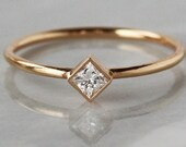 Princess Diamond Solitaire Ring, Square Diamond Engagement Ring, 14k Solid Gold Slim Band, Princess Cut White Diamond, Dainty Diamond Ring