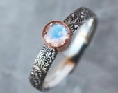 Rainbow Moonstone Ring, Floral Pattern Sterling Silver Band Oxidized Black with 14k Rose Gold