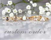 CUSTOM RESERVED ORDER 18k Yellow Gold Hammered Ring to match Hexagon Diamond Ring