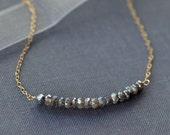Labradorite Bar Necklace - 14k Gold Fill, Rose Gold Fill or Sterling Silver - Delicate Gemstone Bar Necklace - Mystic Labradorite Necklace