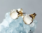 White Moonstone Stud Earrings, Elegant Gemstone Jewelry, 14k Gold Filled Posts
