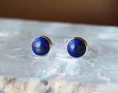 Lapis Lazuli Stud Earrings, Sterling Silver Lapis Studs, Classic Earrings, Gemstone Posts, Handmade Jewelry, 6mm Size Dots