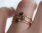 Black Diamond Stacking Ring, Rose Cut Diamond in 14k Solid Gold, Bark Texture Hammered Band