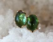 Tourmaline Earrings, 14k Gold Filled Stud, Green Tourmaline Stud Earrings, Deep Green Gemstone, October Birthstone Jewelry, Oval Tourmaline