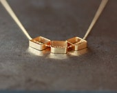 Golden Square Necklace, Geometric Trio Necklace, Gold Vermeil Squares, 14k Gold Filled Chain, Simple Everyday Necklace, Layering Jewelry