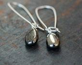 Pyrite Earrings, Golden Pyrite Drop Earrings, Sterling Silver Fool's Gold, Metallic Shine, Gemstone Dangle Earrings, Handmade Jewelry