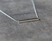 Silver Line Necklace, Straight Bar Necklace, Sterling Silver Bar, Square Tube Necklace, Geometric Modern Simple Layering