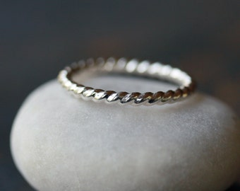 Sterling Silver Twist Ring, Thick Twisted Band, Classic Silver Jewelry